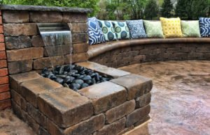 belgard stone patio water feature