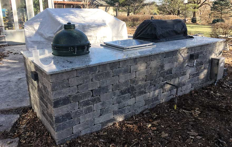outdoor kitchen construction after photo