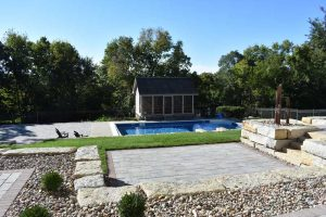 stone paver patio pool project